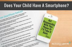 Does Your Child Have A Smartphone? {Printable Cell Phone Contract For Kids} - My Crazy Good Life