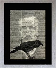 Edgar Allen Poe - The Raven - Vintage Dictionary  Print - Upcycled Book Page - 8x10 art print - CIJ. $5.00, via Etsy.