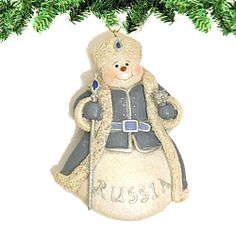 "Russian Snowman Ornament     30% off Clearance! These hand-painted and glittered Snowman ornaments feature traditional Russian symbols and colors.  Measures 3""W x 4""H  http://www.nycwebstore.com/detail.aspx?PRODUCT_ID=KA-D0848RUS"
