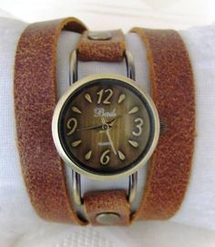 Items similar to Stylish Lady Bronze Wrist Watch With A Unique Leather  Band. 30% Off - 69 Dollars Only. FREE SHIPPING on Etsy 612f8139f