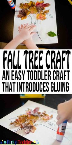 Fall Leaf Craft: an easy toddler craft that introduces gluing. Need a quick fall leaf craft project for your toddler? Try this simple one that introduces toddlers to glue sticks and to the fall season!