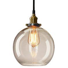 Art Lighting CD1077 Adjustable Height 1-light Antique Globe Hanging Pendant Light with Clear Glass Lampshade and Copper Lampholder, E26 Medium Base, 120V/220V - - Amazon.com
