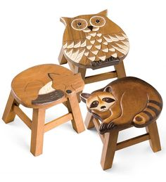 Hand Carved Wooden Stools - owl, fox and raccoon