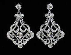 Vintage Wedding Chandelier Earrings Crystal  Bridal by JamJewels1, $62.00