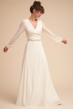 Long Sleeve Wedding Dress Bridal Gown #bhldn #anthrolove #anthrofave