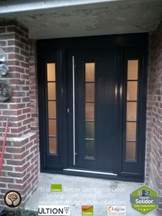 Solidor Timber Composite Doors 12 Months Interest Free Credit by Timber… Contemporary Front Doors, Modern Front Door, House Front Door, House Doors, House Entrance, Grey Composite Front Door, Black Front Doors, Sectional Garage Doors, Wooden Garage Doors