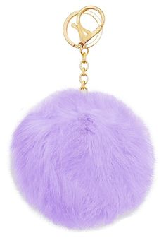 Purple Gold Pom Pom Rabbit Fur Bag Purse Charm Key Chain f0a784f8c