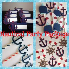 Nautical themed Party Package Anchors Sail Boats, Nautical Baby shower, Birthday Party, Centerpiece, Cupcake Topper, Banner, Food Place Cards, Favor Tags, Whales, Helm, Life Raft, Anchors,  by MiaSophias, $92.00