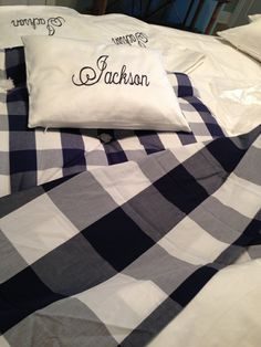 Pandora de Balthazar designed pillows with her grandson's name to match his Hastens crib mattress and linens!