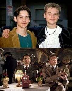 tobey maguire & leonardo dicaprio. then and now.