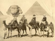 After retiring from the shipbuilding business in 1910, John T. Mather traveled extensively. Here he is pictured riding a camel (far left) in Egypt. He also traveled to Europe and the Pacific Northwest and on his final trip visited Cuba in 1928.
