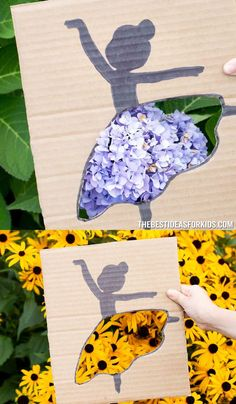 Cardboard Ballerina - create your own nature backdrops with this cardboard ballerina craft! Easy Crafts For Kids, Toddler Crafts, Projects For Kids, Art For Kids, Cool Paper Crafts, Kindergarten Crafts, Toddler Learning Activities, Baby Education, Silhouette Art