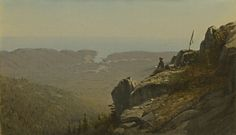 From National Gallery of Art, Washington, D.C., Sanford Robinson Gifford, The Artist Sketching at Mount Desert, Maine (1864-65), Oil on canvas, 27 9/10 × 48 2/5 cm