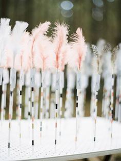 bow & arrow place cards with real feathers | mark dohring of bentinmarcs photography | via: 100 layer cake