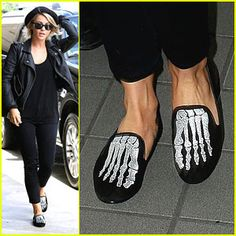 Julianne Hough: Skeletal Slippers at LAX Airport