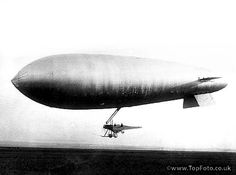 WWI: An SS Class (Submarine Scout) Airship with a Royal Aircraft Factory B.E.2c plane fuselage used for the control car.  undated.