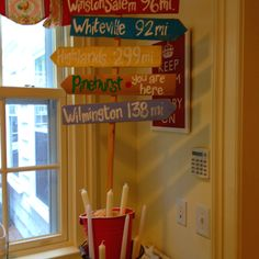 Once more cute idea completed by good friend and pinner Kristen Groner!  Directional signs at a going away party!
