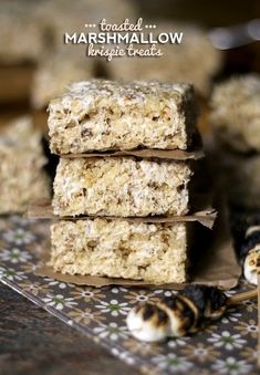 Toasted Marshmallow Krispie Treats.  Made with toasted marshmallows and browned butter..these are so crazy good!
