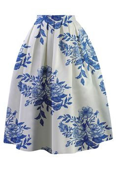 Ceramic Blue Floral Sketch Pleated Skirt - Retro, Indie and Unique Fashion