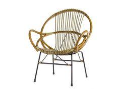 Round Rattan Chair | Metal Frame Rattan Chair | Modern Wicker Chair |  Modern Bamboo Chair