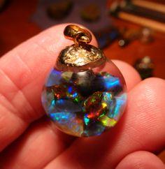 Floating Opal pendant with mix of Australian Lightning Ridge and Boulder Opal Gems