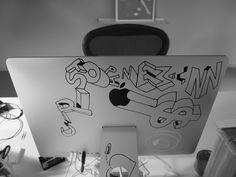 Christoph Niemann Studio Drawing on iMac as theft protection