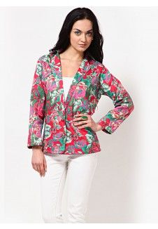 Rose & Leaf Print Single Breasted Jacket