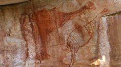 Australia - Genyornis Painting, Arnhem Land - portrait of an extinct flightless bird