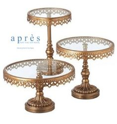 Gold Cake Stands, rents for $8-$12 from from Après Party and Tent Rental