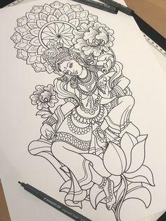 Kerala Mural Painting, Art Painting Gallery, Indian Art Paintings, Wolf Tattoo Sleeve, Sleeve Tattoos, Ganesha, Kali Tattoo, Tibetan Tattoo, Pencil Drawing Inspiration