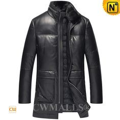 Leather Down Coat with Mink collar CW807200   Winter leather down jacket crafted from natural premium lambskin leather and down filled, CWMALLS leather jacket with detached mink collar, zip details at collar, front zip closure, zip cuffs, and 3/4 length keeps you feeling warm while looking graceful.  www.cwmalls.com  Email: sales@cwmalls.com