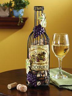 #Vinho & #Acessórios ☆ Porta Rolhas de Metal, #Arte de Metal, Wine Bottle Cork Holder (Garrafa de Vinho para guardar Rolhas)