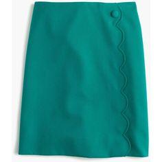 Scalloped skirt in wool-cotton gabardine ($98) via Polyvore featuring skirts, scalloped skirt, long skirts, panel skirt, scallop hem skirt and long blue skirt