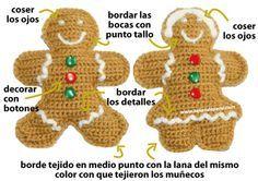 Cómo tejer galletas de jengibre a crochet (crochet gingerbread cookies tutorial)