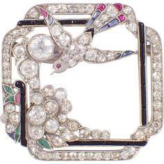 Art Deco Platinum Diamond, Onyx, Ruby, Sapphire, and Emerald Brooch