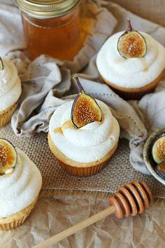 Honey Cupcakes + Sweet Mascarpone Frosting + Carmelized Figs