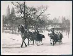 vintage pictures of new york city in snow | AEY 904 VINTAGE PHOTO HORSE DRAWN SLEIGH IN SNOW