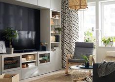 BESTÅ TV and media storage solutions Ikea Living Room, Living Room Storage, Ikea Tv Console, Muebles Living, Tv Storage, Record Storage, Media Storage Unit, Contemporary Interior Design, Decoration