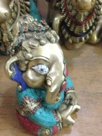 Brass Ganesha with stones, Tiger Eye, 10 inches