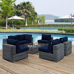 Summon 7 Piece Outdoor Patio Sunbrella® Sectional Set in Canvas Navy