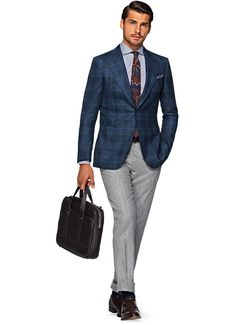 Jacket Blue Check Washington Half-lined C900i | Suitsupply Online Store