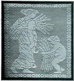 images of free crochet filet charts Crochet Deer, Filet Crochet, Crochet Doilies, Crochet Stitches, Vintage Crochet Patterns, Crochet Animal Patterns, Stuffed Animal Patterns, Deer Pattern, Altar Cloth