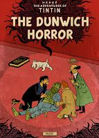 """Murray Groat's Lovecraftian Adventures of TinTin covers are witty & on-target homage/tributes to Lovecraft & Herge both. Groat vividly imagines what might have happened if Herge hadn't stopped doing his long-running TinTin extravaganzas. This series is """"of the 1st water,"""" as HPL himself might have said. It's sad the entire books don't exist! Get busy, Murray!"""
