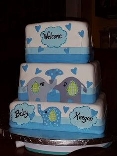 Elephant-themed Baby Shower cake created to match the invitations.