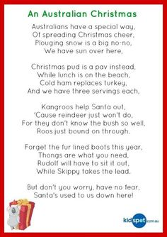 Christmas poetry for kids ** Aussie Christmas Christmas Decorations Australian, Australian Christmas Cards, Aussie Christmas, Summer Christmas, Xmas Decorations, Christmas Verses, Christmas Images, Christmas Art, All Things Christmas