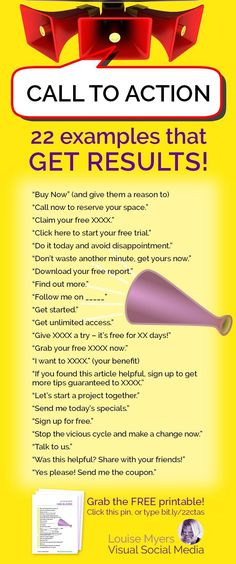 Looking for call to action examples? These tested phrases are proven to bring results! Edit them to fit your specific situation. They're sure to spark ideas! -- You can get additional details at the image link. Small Business Marketing, Marketing Plan, Inbound Marketing, Marketing Tools, Content Marketing, Affiliate Marketing, Business Tips, Online Business, Social Media Marketing