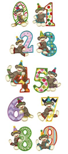 Embroidery | Applique Machine Embroidery Designs | Birthday Sock Monkey Numbers Applique