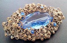 Art Nouveau Edwardian Brooch Pin Blue Art Glass Rhinestones Filigree Cast metal 2 VG via Etsy