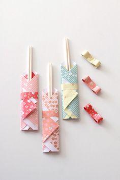 ★ダイソー100円の千代紙で作る着物風お箸袋 | インテリアと暮らしのヒント