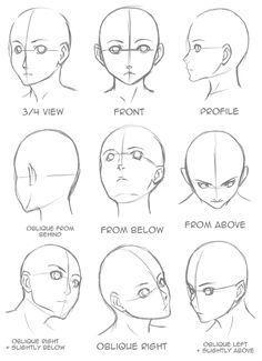 Manga Drawing Tips Drawing Tips Face shape Drawing Heads, Painting & Drawing, Drawing Face Shapes, Anime Head Shapes, Drawing Drawing, Drawing Practice, Face Proportions Drawing, Simple Face Drawing, Facial Expressions Drawing